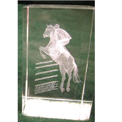 Crystal Weight - Horse Jumping Etching