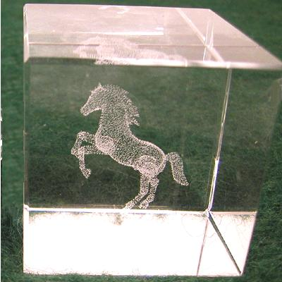 Rearing Horse Ecthing - Square Crystal Weight